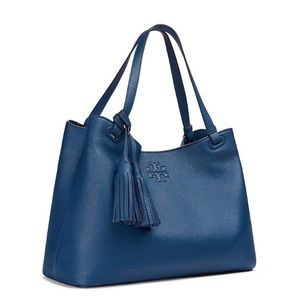 Tory Burch Thea Tidal Center Zip Blue Leather Tote